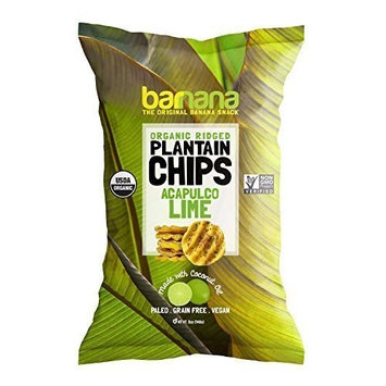 Barnana Organic Plantain Chips - Acapulco Lime - 5 Ounce, 8 Pack Plantains Salty, Crunchy, Thick Sliced Snack - Best Chip For Your Everyday Life - Cooked in Premium Coconut Oil [Lime]