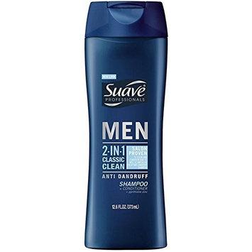 Suave Professionals Men 2-in-1 Classic Clean Anti-Dandruff Shampoo + Conditioner 12.60 oz (6 Pack)