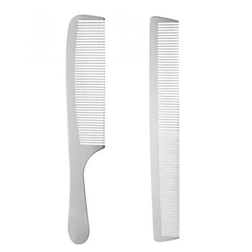 Homyl 2 Pieces Durable Antistatic Stainless Steel Salon Barber Hairstyling Design Hair Cutting Comb Hairdresser Haircut Tools