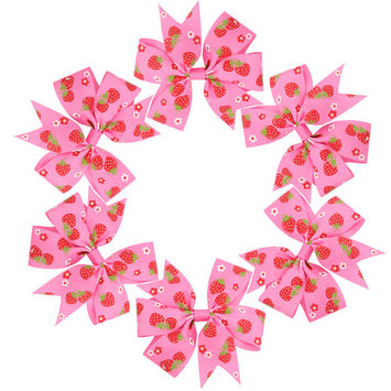 Coxeer(3.54in/6Pcs/Green),Strawberry Pattern Grosgrain Ribbon Hair Bows Alligator Clips Hair Accessories for Baby Girls Kids Teens Toddlers Children