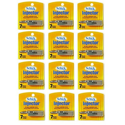 Schick Injector Blades 7 Ct. Each (Pack of 12) + FREE LA Cross Blemish Remover 74851
