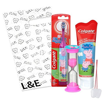 Peppa Pig Inspired 3pc Bright Smile Oral Hygiene Bundle! Turbo Spin Toothbrush, Fluoride Toothpaste & Brushing Timer! Plus Dental Gift & Remember to Brush Visual Aid!