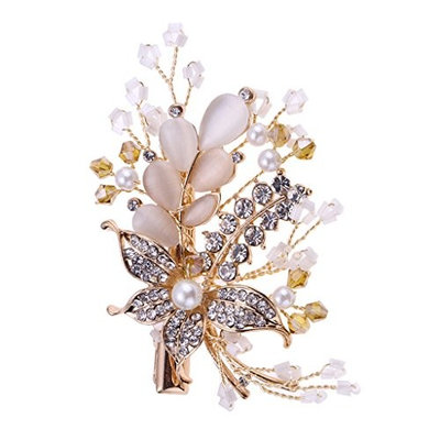 Baoblaze Woman Rhinestone Pearl Hairpin Clips Elegent Wedding Headwear Accessory - Gold, 65 x 50 x 50mm
