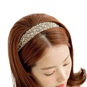 Polytree Women's Crystal Beads Lace Headband Elastic Hair Accessories