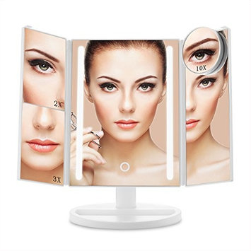 E-SDS Lighted Makeup Mirror with 24 LED Lights,10X/3X/2X/1X Magnifying Mirror,Touch Sensor Control,Dual Power Supply,180°Adjustable Stand Desk...
