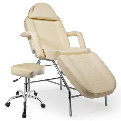 Saloniture Professional Multi-purpose Salon Chair / Massage Table with Adjustable Stool - Cream