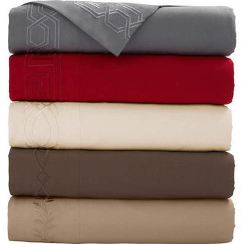 Mainstays Embroidered Microfiber Full Off-White Bed Sheet Set, 1 Each