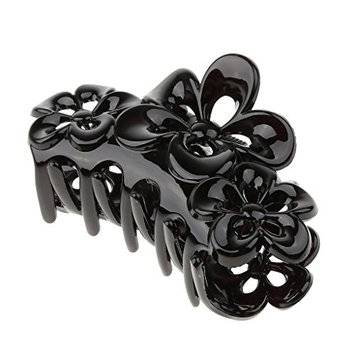 Homyl Large Hair Clip Claws Crystal Flower Barrettes Clasp Hairpin Clamp for Thick Hair Women Hair Accessories - Black, as described