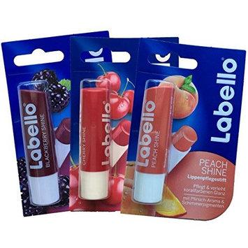 Labello Blackberry Shine, Labello Cherry Shine, Labello Peach Shine Lip Balm Bundle