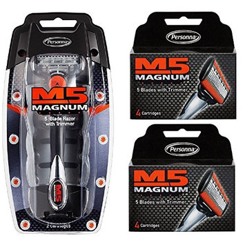 Personna M5 Magnum 5 Razor with Trimmer + M5 Magnum 5 Refill Razor Blade Cartridges, 4 ct. (Pack of 2) + FREE Schick Slim Twin ST for Dry Skin