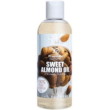 Sweet Almond Oil, Natural Carrier Oil 4 oz, Cleansing Properties, Evens Skin Tone, Treats Irritated Skin, Nourishes, Moisturizes & Prevents Aging- By Premium Nature