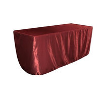 LA Linen TCbridal-fit-72x24x30-BurgundyB17 Fitted Bridal Satin Tablecloth Burgundy - 72 x 24 x 30 in.
