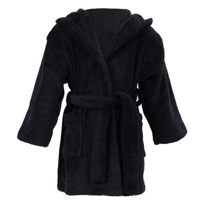 Boy's Coral Velvet Hooded Bathrobe Robe with Hood & Pockets,Black,M