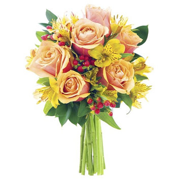 KaBloom All-Spice Bouquet of Red Roses, Yellow Alstroemerias, Red Hypericum Berries, and Lush Greens without Vase [Without Vase]