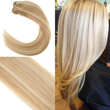 Youngsee 18inch 1 Bundle 100% Remy Straight Weave Human Hair Caramel Blonde Highlight with Blonde Human Hair Weave Brazilian Hair 100gram []