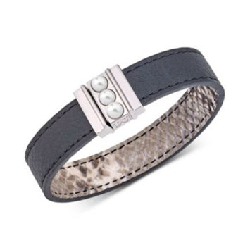 Silver-Tone Imitation Pearl Reversible Leather Bracelet