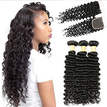 JQM Hair 8A Brazilian Deep Wave 3 Bundles with Closure Unprocessed Virgin Human Hair with Lace Closure Free Part