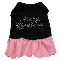 Mirage Pet Products Merry Christmas Rhinestone 20-Inch Pet Dress, 3X-Large, Black with Pink
