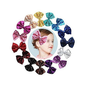 Glitter Bow Hair Clip, Pack of 6 Bling Glitter Sequin Hair Bows with Hair Clips for Girls Toddlers Kids Women Accessories(Color Random)