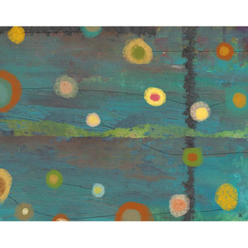 Green Leaf Art Sky with Circles 1 Painting Print on Wrapped Canvas