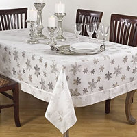 Saro Burnout Snowflake Design Tablecloths