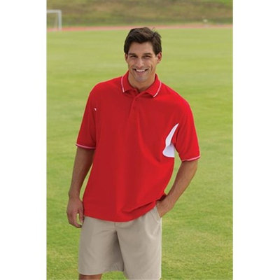Whispering Pines Sportwear 5555 Cool Vented Jersey Mesh Polo Shirt With Uv Protection, Red , White, Small