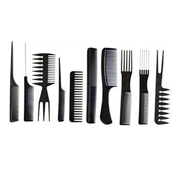 YJYdada 10Pcs Black Pro Salon Hair Styling Hairdressing Plastic Barbers Brush Combs Set