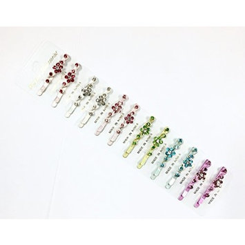 12 Pieces Set With 6 Different Color Rhinestone Bobby Pin BP-04