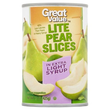 Great Value Lite Pear Slices In Extra Light Syrup, 15 Oz