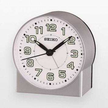 Seiko Qhe084Slh Silver Tone Metallic Analog Alarm Clock