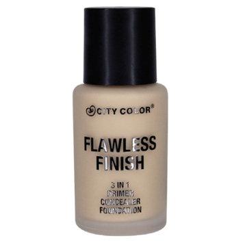 (6 Pack) CITY COLOR Flawless Finish 3 In 1 Primer, Concealer Foundation - Light