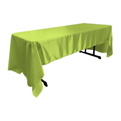 LA Linen TCbridal60X144-LimeB84 Bridal Satin Rectangular Tablecloth Lime - 60 x 144 in.