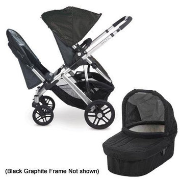 UPPAbaby 0112-JKE Jake VISTA Double Stroller Kit with Bassinet - Black Graphite Frame