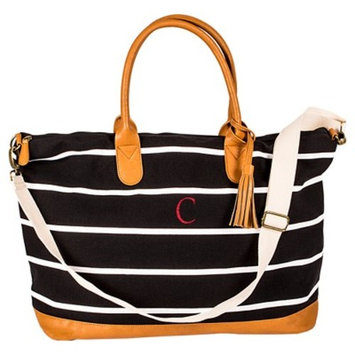 Women's Monogrammed Black Striped Oversized Weekender Bag - Cathy's Concepts