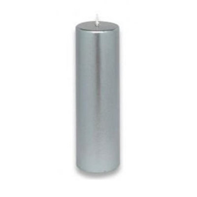 Zest Candle CPZ12324 2 x 6 in. Metallic Silver Pillar Candle 24pcsCase Bulk