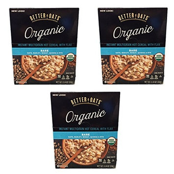 Better Oats Organic Multigrain Bare Instant Oatmeal with Flax Oats, Barley, Wheat, Quinoa and Rye - 3 Pack with 8 measuring cup pouches each
