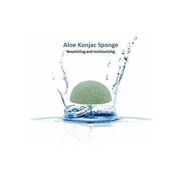 Blue Water 100% Natural Aloe Konjac Sponge (Half Ball, Light Green) for deep cleansing, silky soft, mild luxurious spa wash for face, body, neck, eyes for the entire family