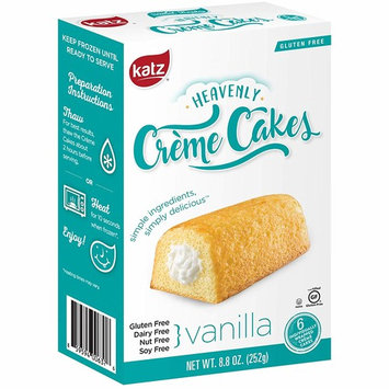 Katz Gluten Free Vanilla Crème Cakes   Dairy, Nut, Soy and Gluten Free   Kosher (1 Pack of 6 Crème Cakes, 8.8 Ounce)