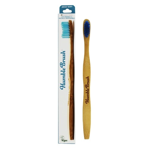 Humble Bamboo Brush Soft Adult Toothbrush Blue