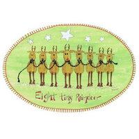 Eight Tiny Reindeer Oval Plaque