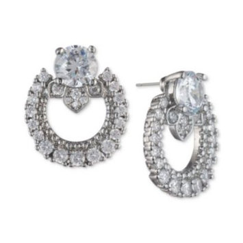 Silver-Tone Cubic Zirconia Link Button Earrings, Created for Macy's