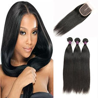 Royale Straight Hair Bundles with Closure 3 Bundles Brazilian Hair Human Hair with Closure 4x4 inch Middle Part Closure Straight Human Hair (22 22 22 +20