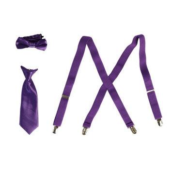 Boys Purple Suspender Bow-Tie Tie Combo Special Occasion Set
