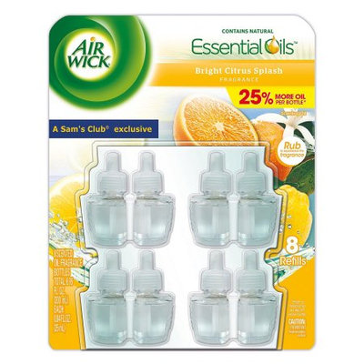 Reckitt Benckiser Air Wick Scented Oil Refills, Cold Stone Bright Citrus Splash Scent, 0.84 Fl Oz, 8 Ct