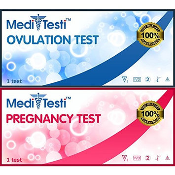 MediTesti™ Ovulation & Pregnancy Test - Includes 50 Ovulation Test Strips (LH Test) & 25 Early Pregnancy Test Strips (hCG Test)