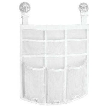 InterDesign Una Power Lock Suction Mesh Hanging Bathroom Shower Caddy for Shampoo, Conditioner, Soap, Razors - White