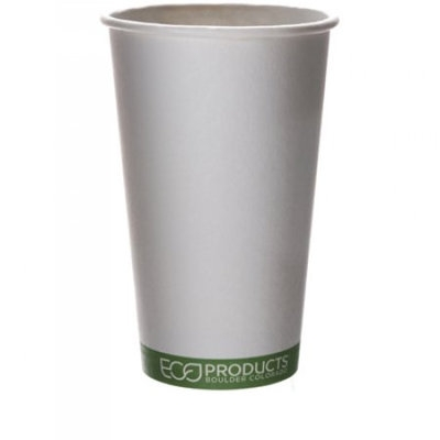Eco Products EPBHC16GSCS EcoProducts 16 oz Compostable Hot Cup in GreenStripe Design#44; 1000 cups per case.