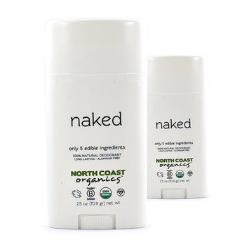 North Coast Organics Naked Organic Deodorant (Pack of 2) With Coconut Oil, Shea Butter and Baking Soda, 2.5 oz Each