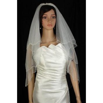 Bridal Veil White 2 Tiers Fingertip Length Edge In Beads, Rhinestone, Crystal