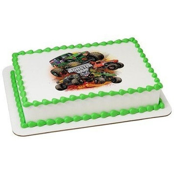 Whimsical Practicality Monster Jam Monster Trucks Edible Icing Image (6 Inch Round)
